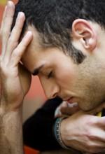 depressed man at work