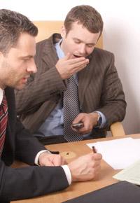 yawning during meeting